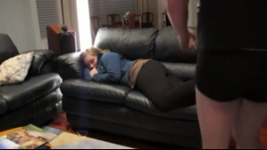 Blonde pounded on the sofa for a wet cumshot