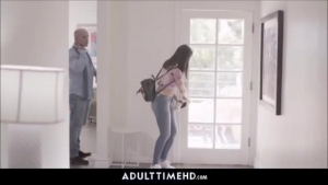 Sweet Latina is giving a nice blowjob to her step- dad after getting fucked very hard