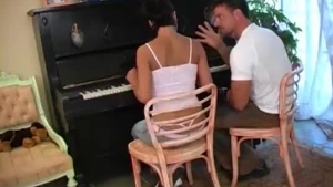 Tempting brunette fucked by piano professor after kinky intimate therapy