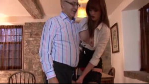 Majestic brunette amateur fucked by an old guy