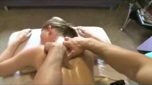 Oiled darling in pantyhose getting fucked by the therapist
