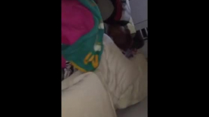 Horny black guy is fucking a superb woman while her husband's friends are sleeping on the couch