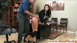 Sweet secretary fucked in front of her boss like in his office